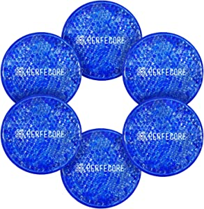 Reusable Gel Ice Packs - Hot Cold Compress by Perfecore - Sciatica Treatment, Low Back, Neck, Shoulder Pain, Migraine Headache, Wisdom Tooth, Sinus - Reduce Eye Puffiness - 6 Pcs with Cloth Backing