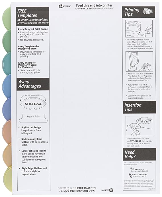 Amazon Avery 11201 Insertable Style Edge Tab Plastic Dividers