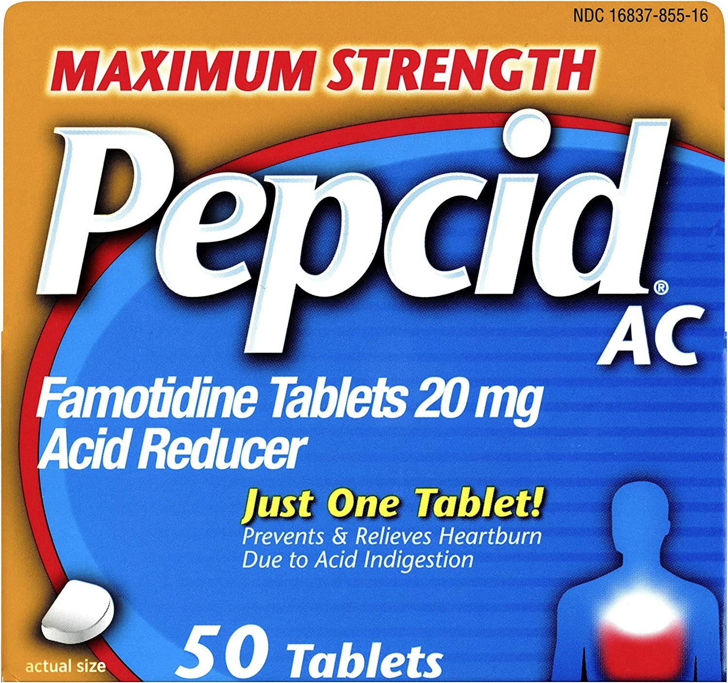 Pepcid AC Maximum Strength with 20 mg Famotidine for All-Day Heartburn Prevention & Relief, 50 ct.: Health & Personal Care