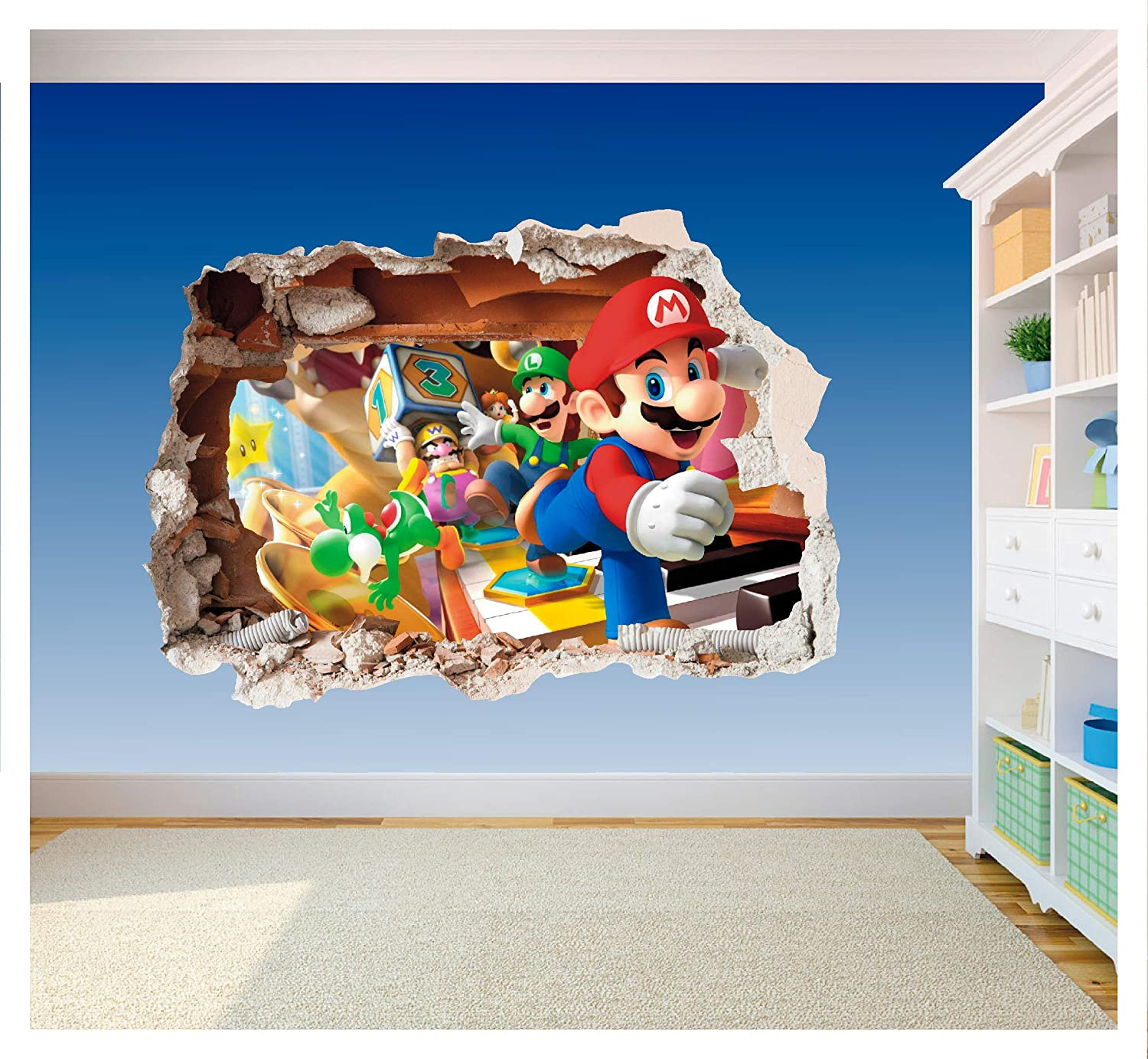 Supersize 1200 x 855mm SS40014 Super Mario Brothers Wall Art hole stampato vinile adesivo decalcomania cameretta dei bambini