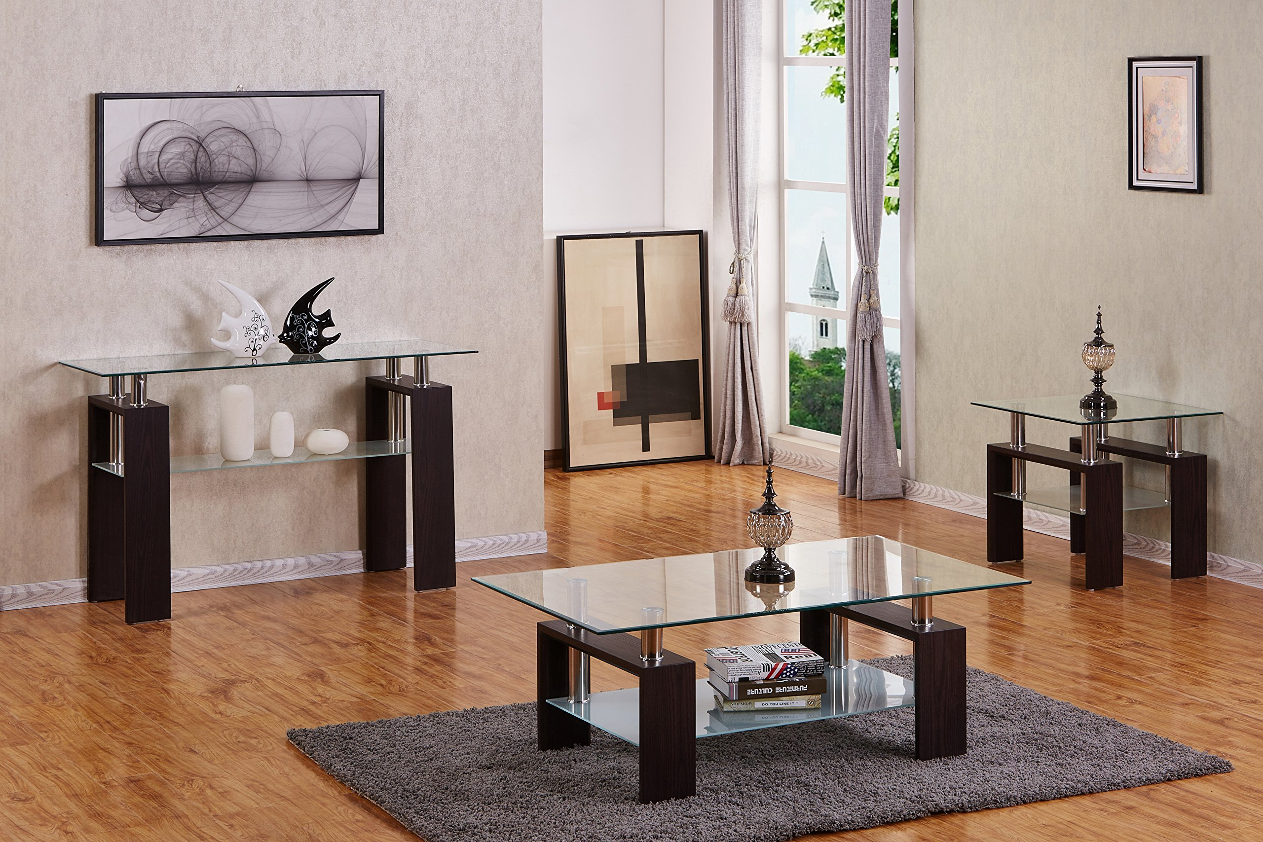 Best Quality Furniture Modern Glass and Espresso Elegant Coffee Table Set by Best Quality