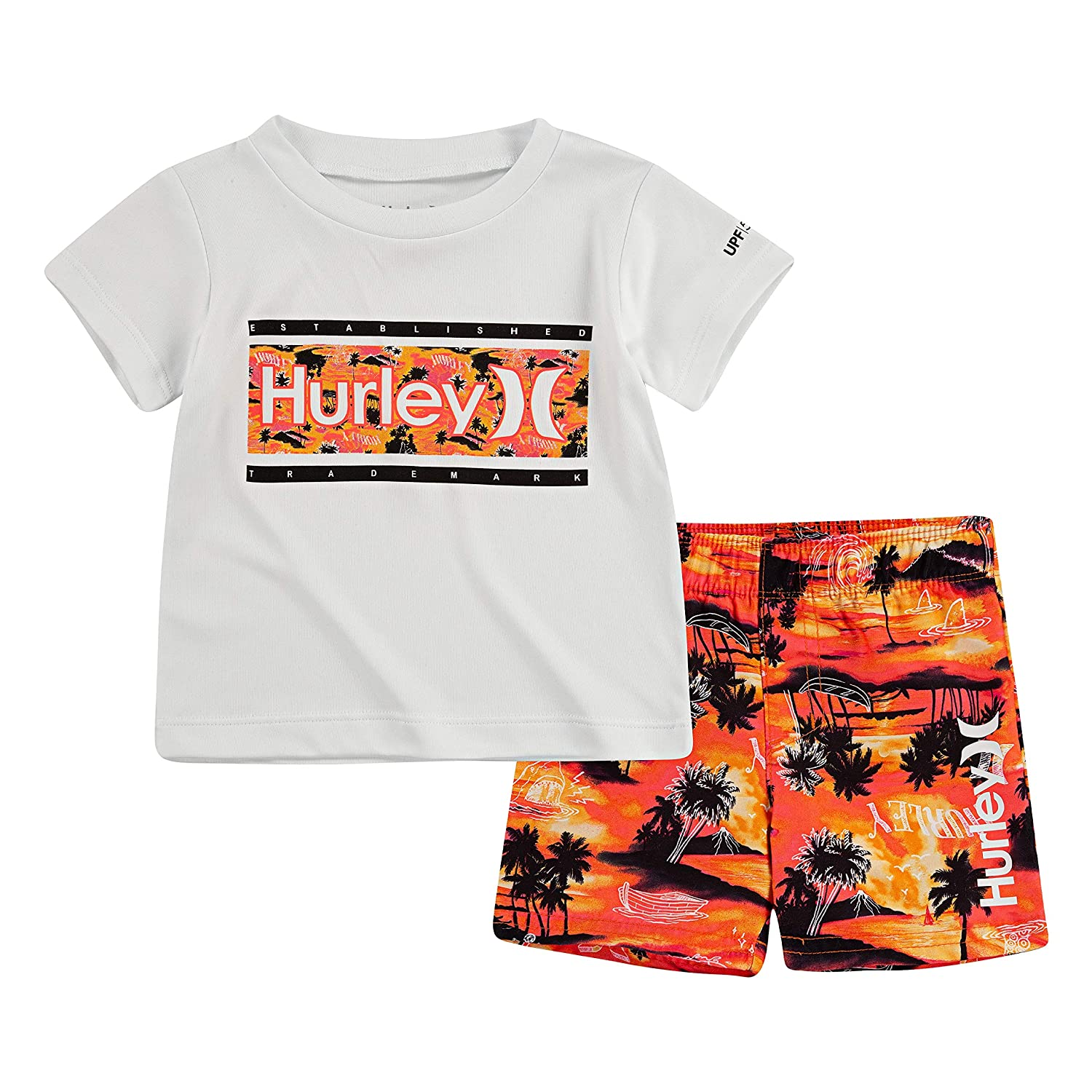 Hurley Boys Graphic T-Shirt and Swim Suit 2-Piece Outfit Set