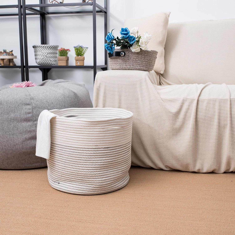 Jolly Jon - Cesta de almacenamiento de cuerda de algodón grande - negro y marfil color blanco - asas tejidas para la colada o juguetes - Revistero ...