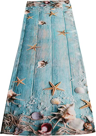 khevga Chemin de Table Bleu Blanc Mer 40 x 150 cm Bleu//Blanc