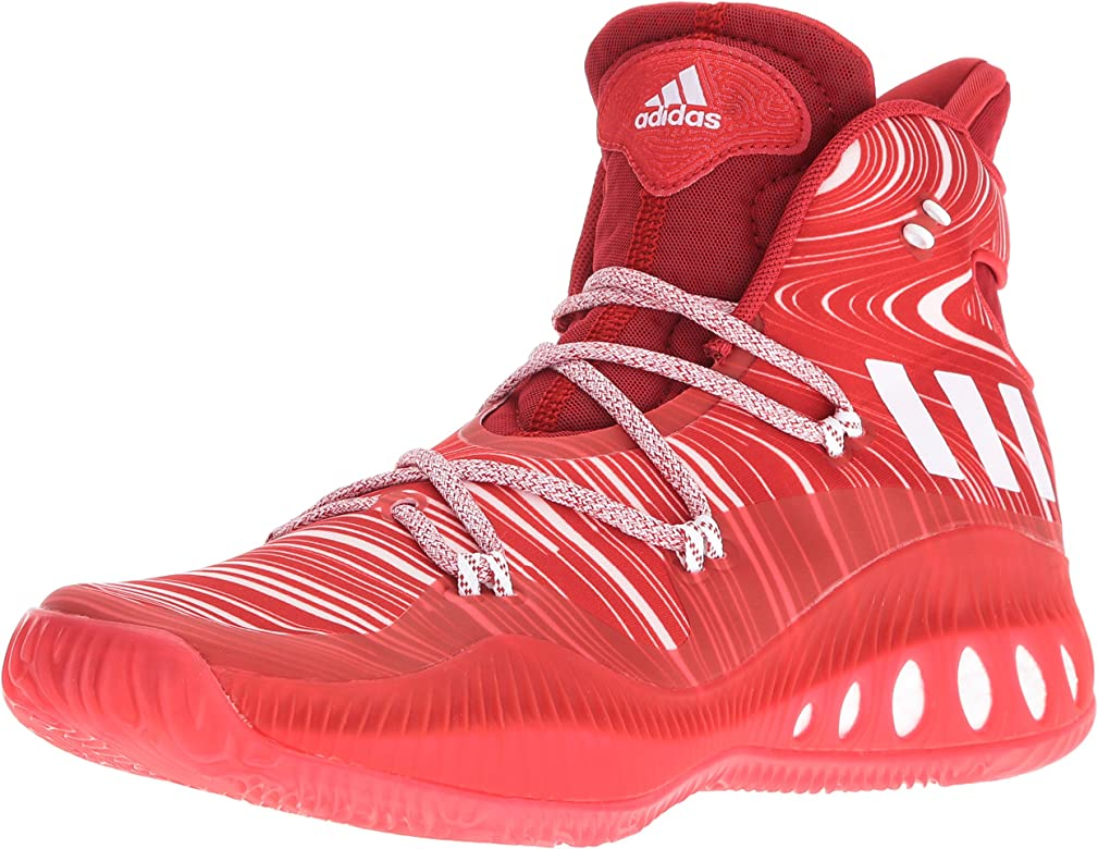 b9d6973b0a4 adidas Men's | Crazy Explosive Basketball Shoes, Scarlet/White/University  Red, (