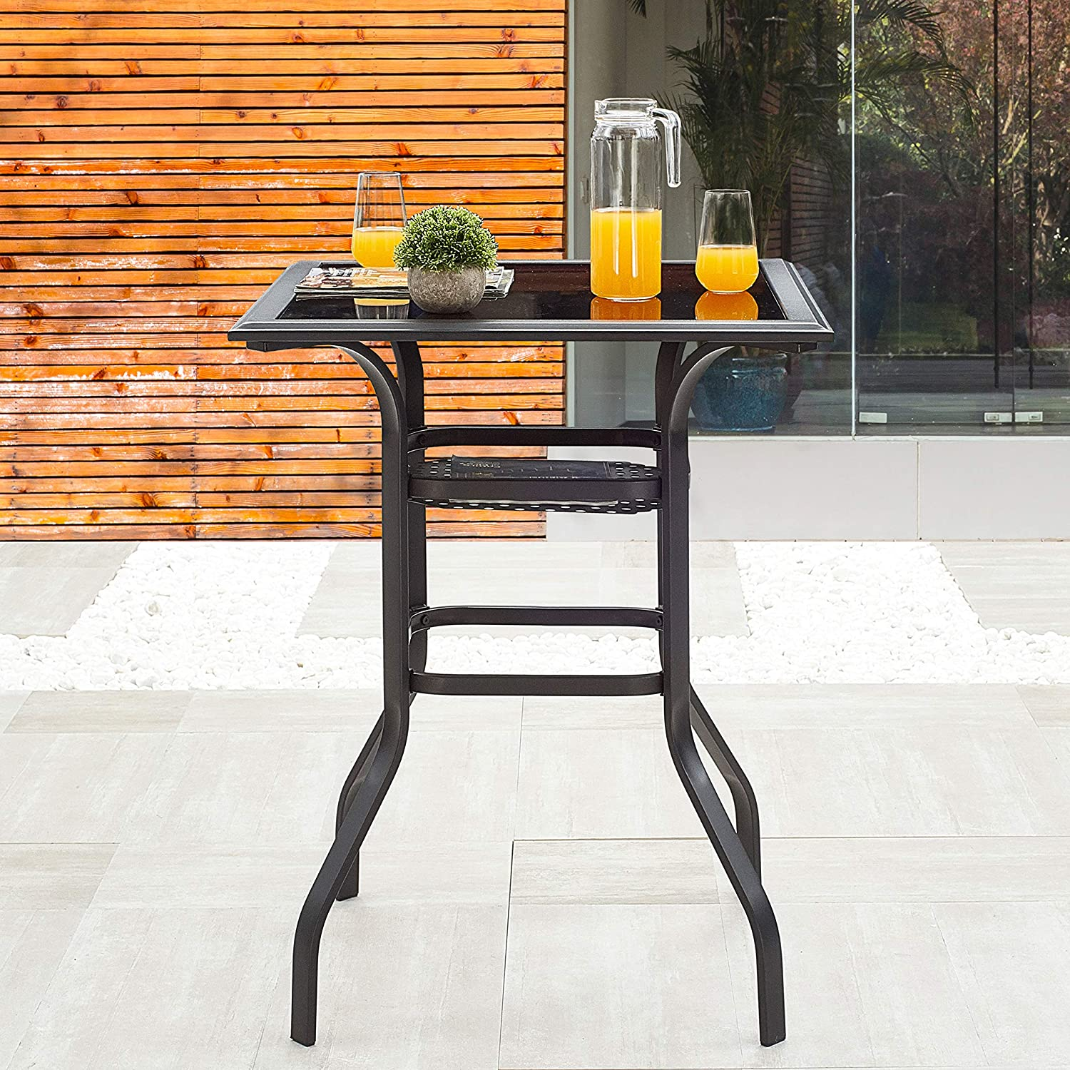 LOKATSE HOME Patio Bar Height Outdoor Table Bistro Square Outside High Top with 2-Tier Metal Frame (27.6