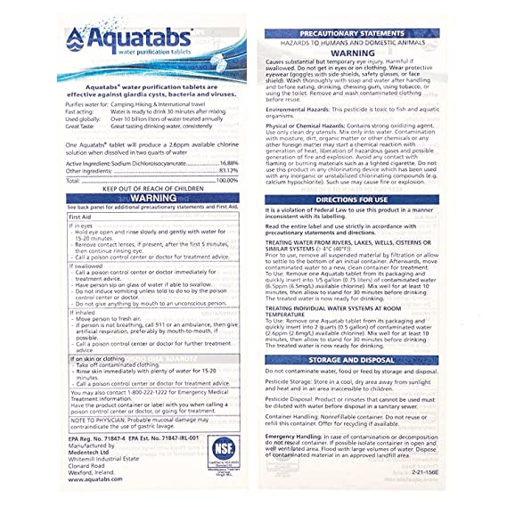 Aquatabs Water Purification Tablets 100 (Four-Pack)