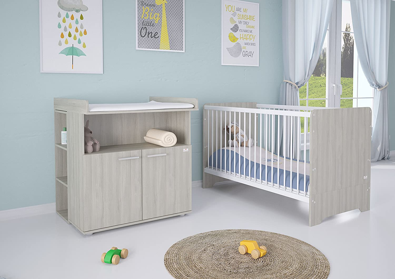 Polini Kids Kinderzimmer 6-teilig Kinderbett mit Wickelkommode mit Regal und Matratze