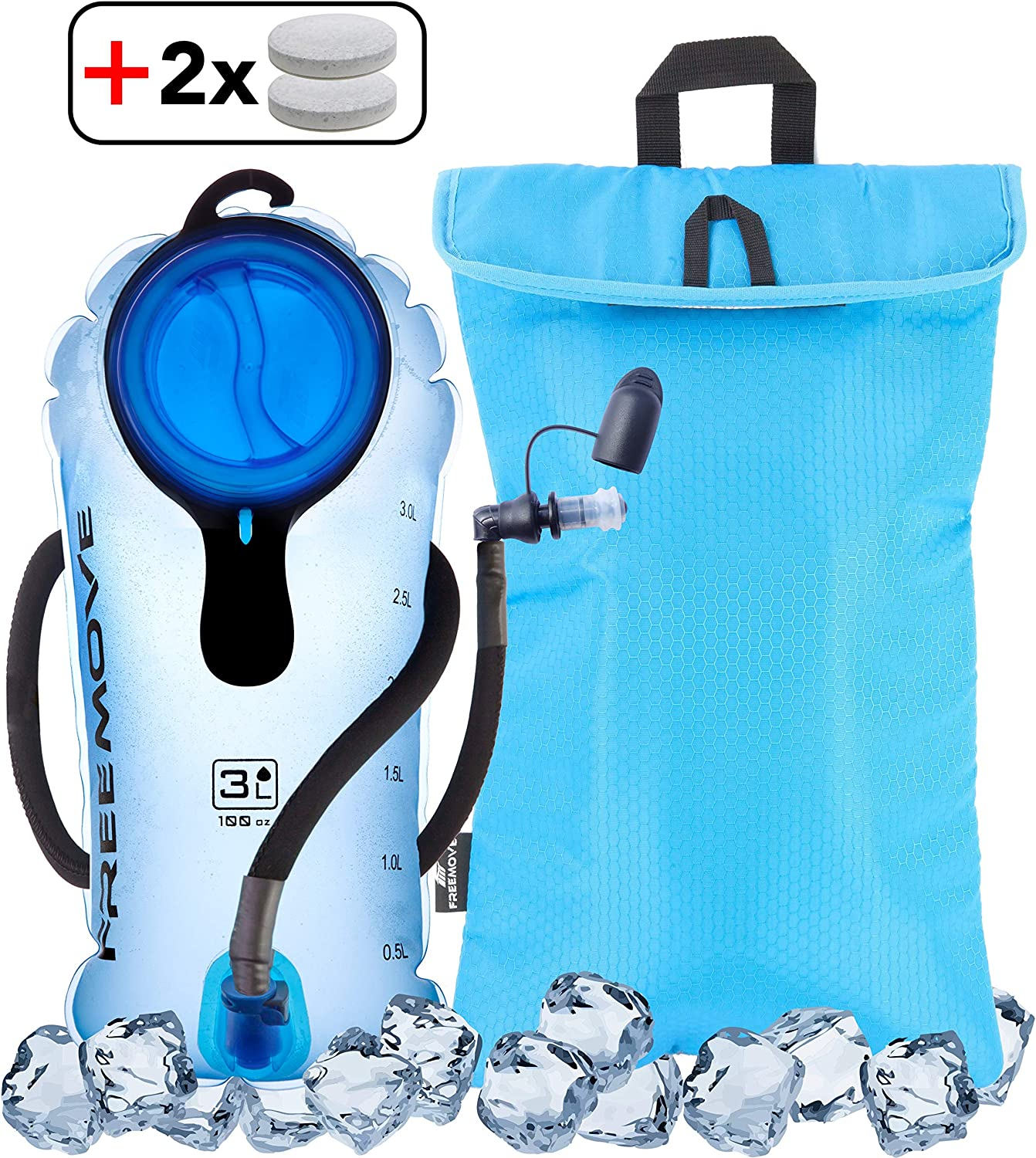 FREEMOVE 2L or 3L Hydration Bladder Cooler Bag Keeps Drink Cool Protects Bladder or Replacement Bite Valve Leak Proof Water Reservoir Tasteless TPU Quick Release Tube Shutoff Valve