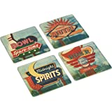 "CoasterStone AS2330 Absorbent Coasters, 4-1/4-Inch, ""Retro Signs"", Set of 4"