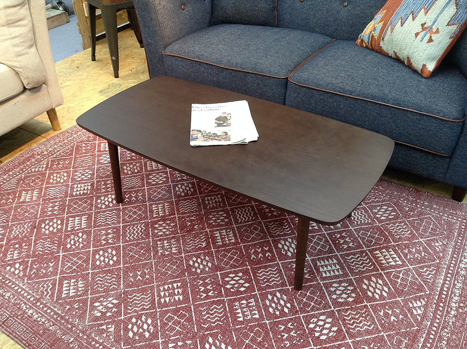 AZUMAYA Wooden Folding Legs Coffee Center Table SGS-229 Dark Brown