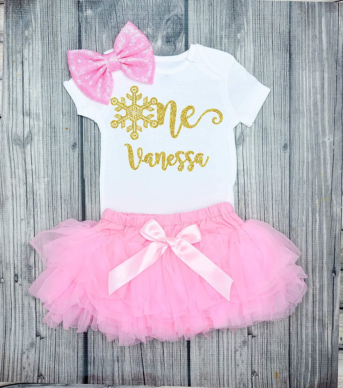 Baby Girl/'s First 1st Birthday Outfit Cake Smash Pink Glitter Princess One