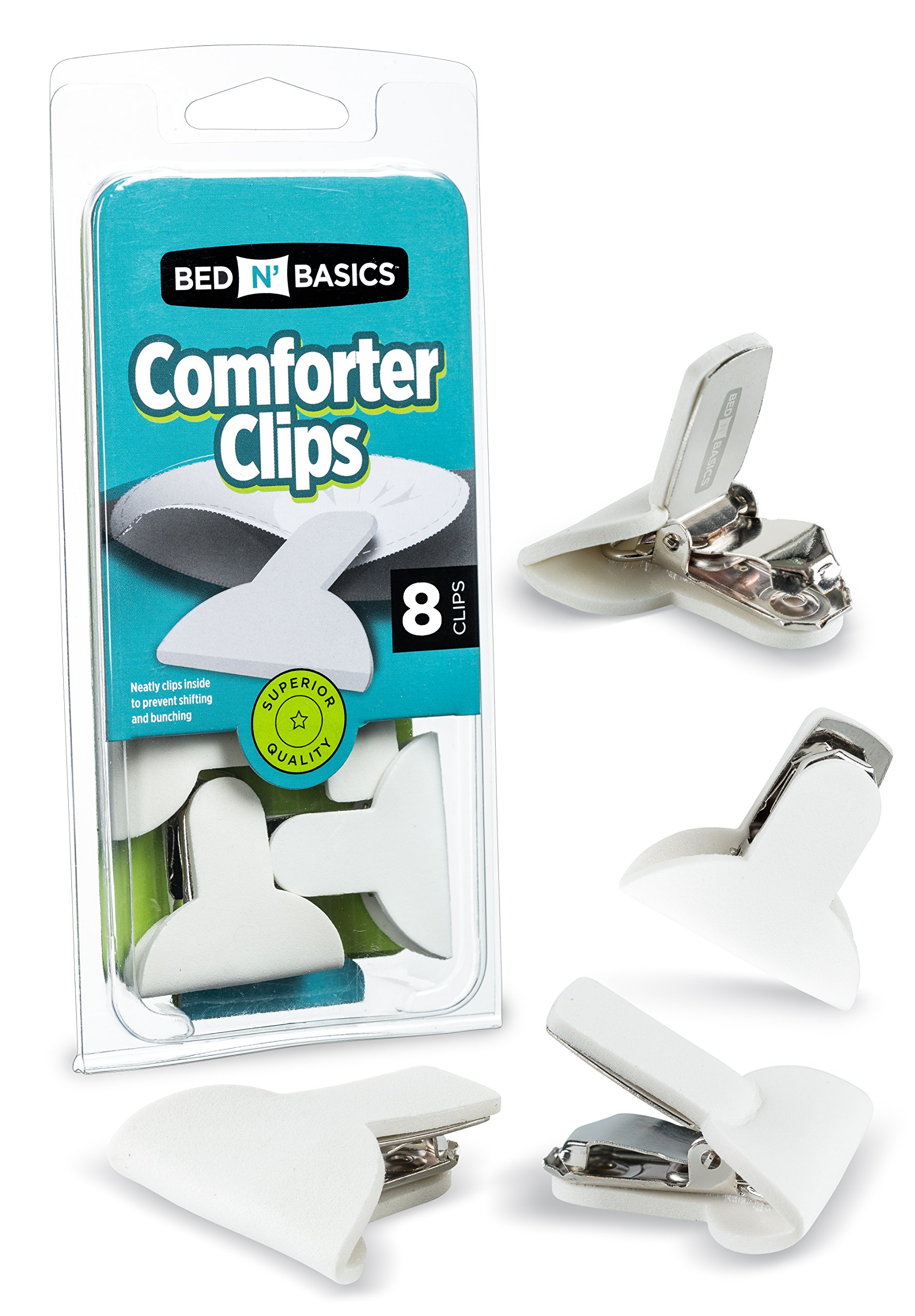 Padded Comforter & Duvet Clips - Blanket Fasteners to Secure Bedding - No More Shifting or Bunching in Covers - 8 Pack - by Bed N' Basics