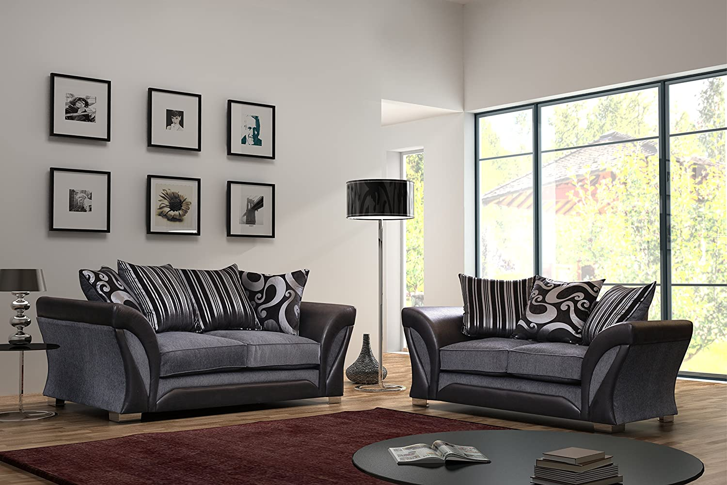 Designer couch  Flux Black and Grey Fabric and Chenille Designer Sofa Settee Couch ...