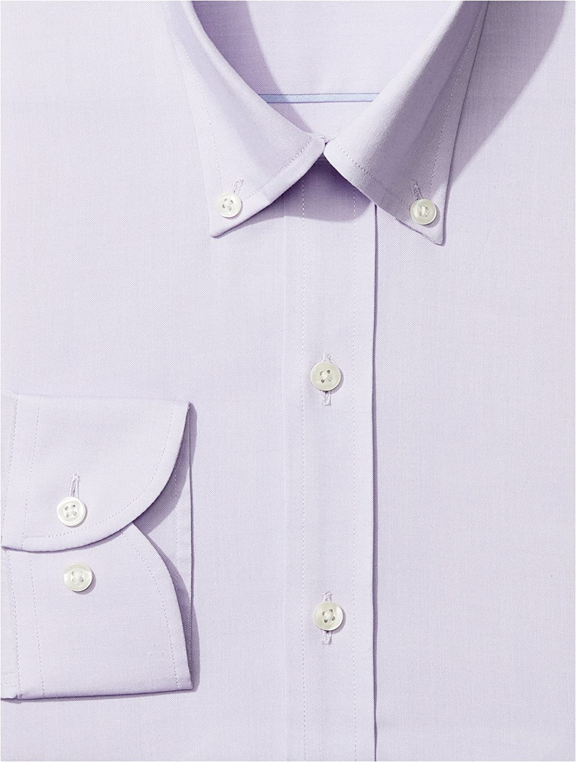 Brand Supima Cotton Non-Iron BUTTONED DOWN Mens Slim Fit Button-Collar Solid Pinpoint Dress Shirt