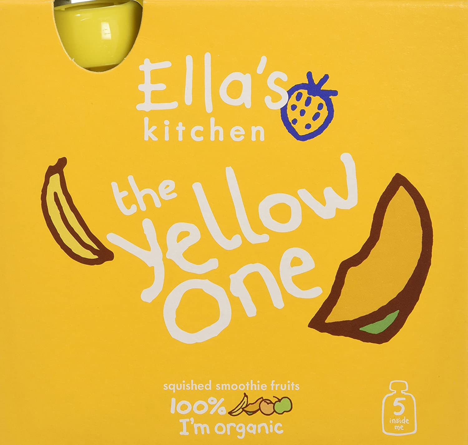 Ella's Kitchen The Yellow One Organic Smoothie Fruits Multipack 5 x 90 g (Pack of 6, Total 30 Packets) Ella's Kitchen 41752