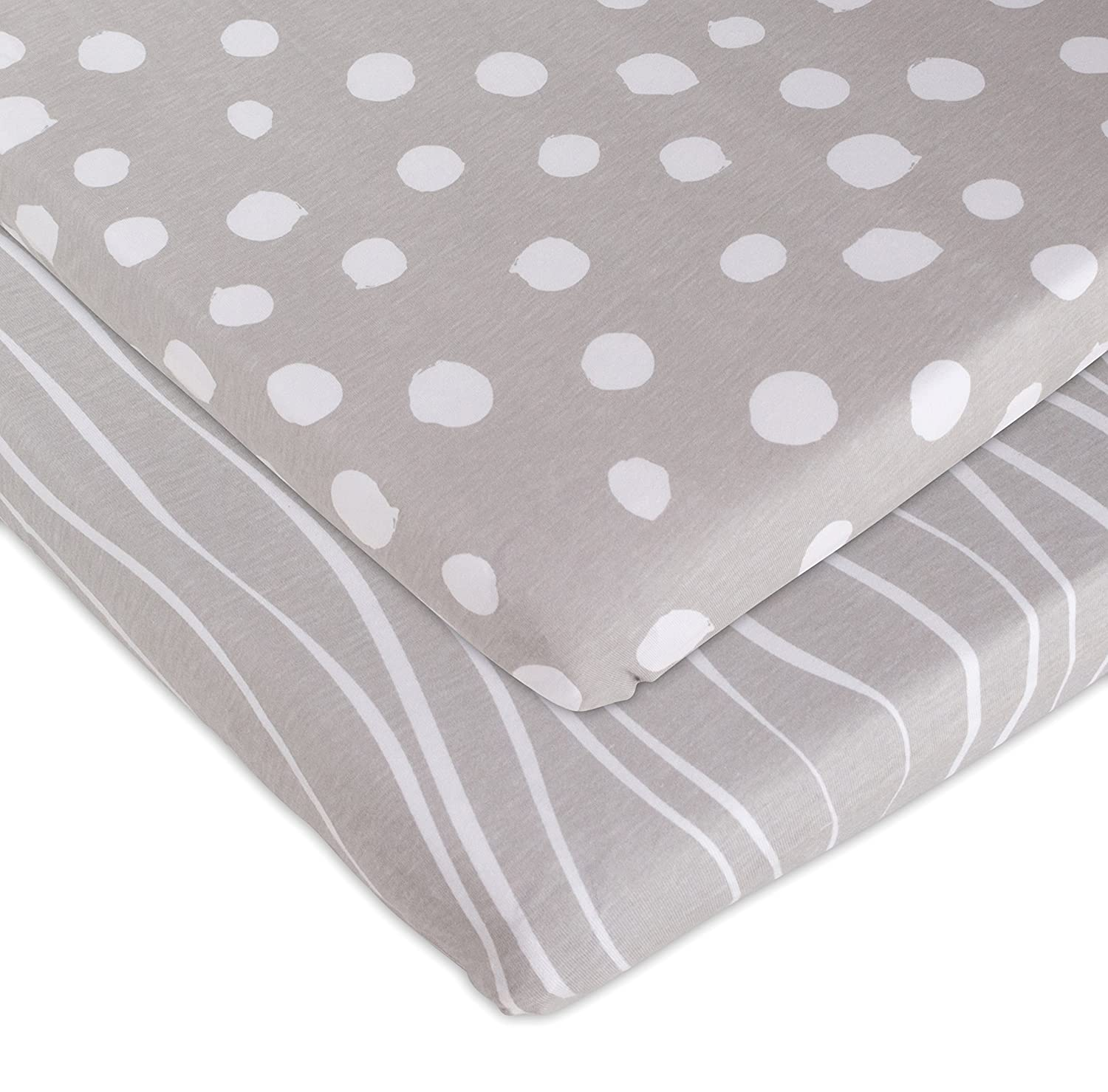 Amazon Bassinet Sheet Set 2 Pack Jersey Cotton Grey and
