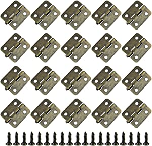 AUEAR, 50 Pack Miniature Dollhouse Hinges Hardware Jewelry Box Tiny Hardware with 200 Pieces Screws 180 Degree Rotation for Dollhouse Miniature Furniture Craft Closet Cabinet (Antique Bronze)