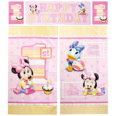 Amscan Disney Baby Minnie Mouse 1st Birthday Scene Setters Wall Decorating Kit, Large, Pink: Toys & Games