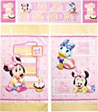 Amscan Disney Baby Minnie Mouse 1st Birthday Scene Setters Wall Decorating Kit, Large, Pink