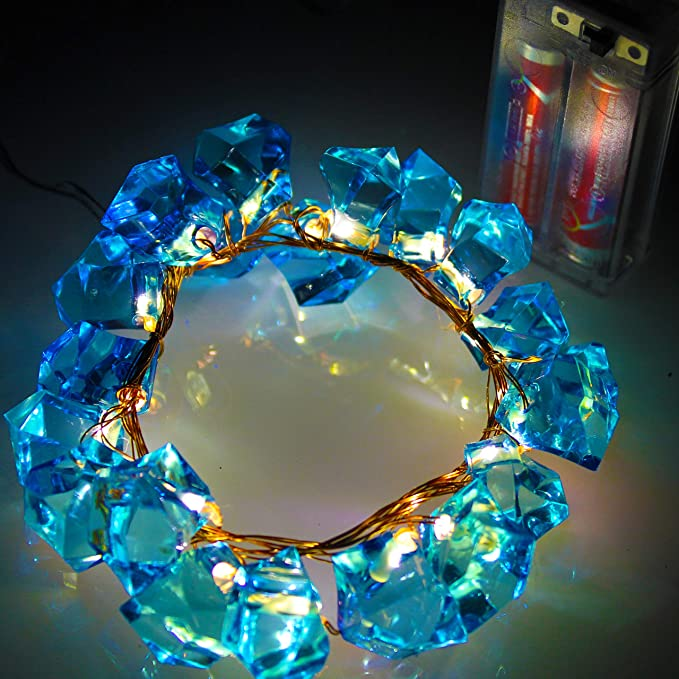 Citra 20 Led Battery Operated Irregular Crystal Blue Copper String Light for Diwali and Other Festival Decorations Decoration Lights at amazon
