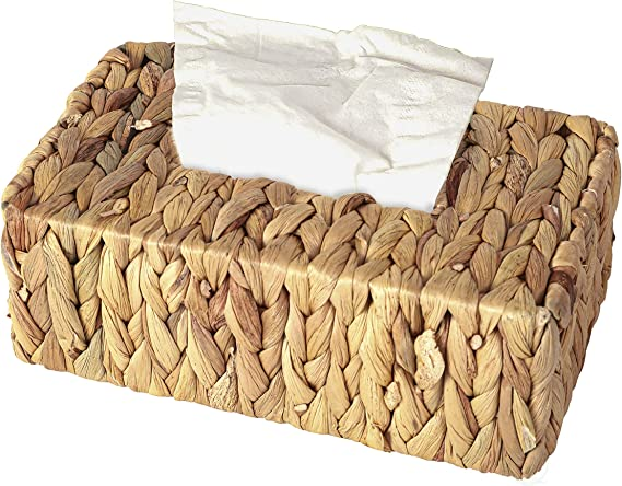 Rectangle Vintiquewise QI003631.RC Water Hyacinth Wicker Rectangular Tissue Box Cover Brown