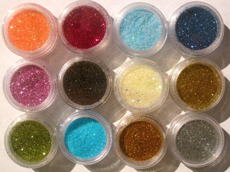 Amazon.com: 12 Color Glitter Sparkle Powder Nail Art Makeup Body ...