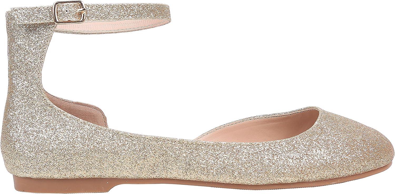 Amazon.com   Women Flats Shoes Closed Toe Round Toe Faux Nubuck Cushioned  Shoes (8.5, GOLD-GLITTER)   Flats