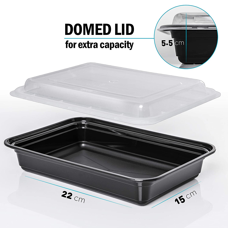lavavajillas y apilable 1 compartimento comida Prep Bento caja de almuerzo recipientes de almacenamiento de alimentos con tapas para microondas reutilizable Pl/ástico libre de BPA 10 unidades