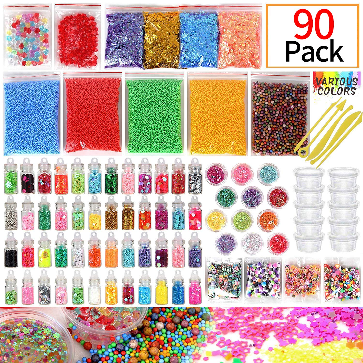 Slime Supplies Kit, 90 Pack Slime Beads Charms, Include Fishbowl Beads, Foam Balls, Glitter Jars, Drop Water Plum Blossom Love Smiley face Slices, Simulation Ice, Colorful Foam Beads, Slime Tools PITAYA