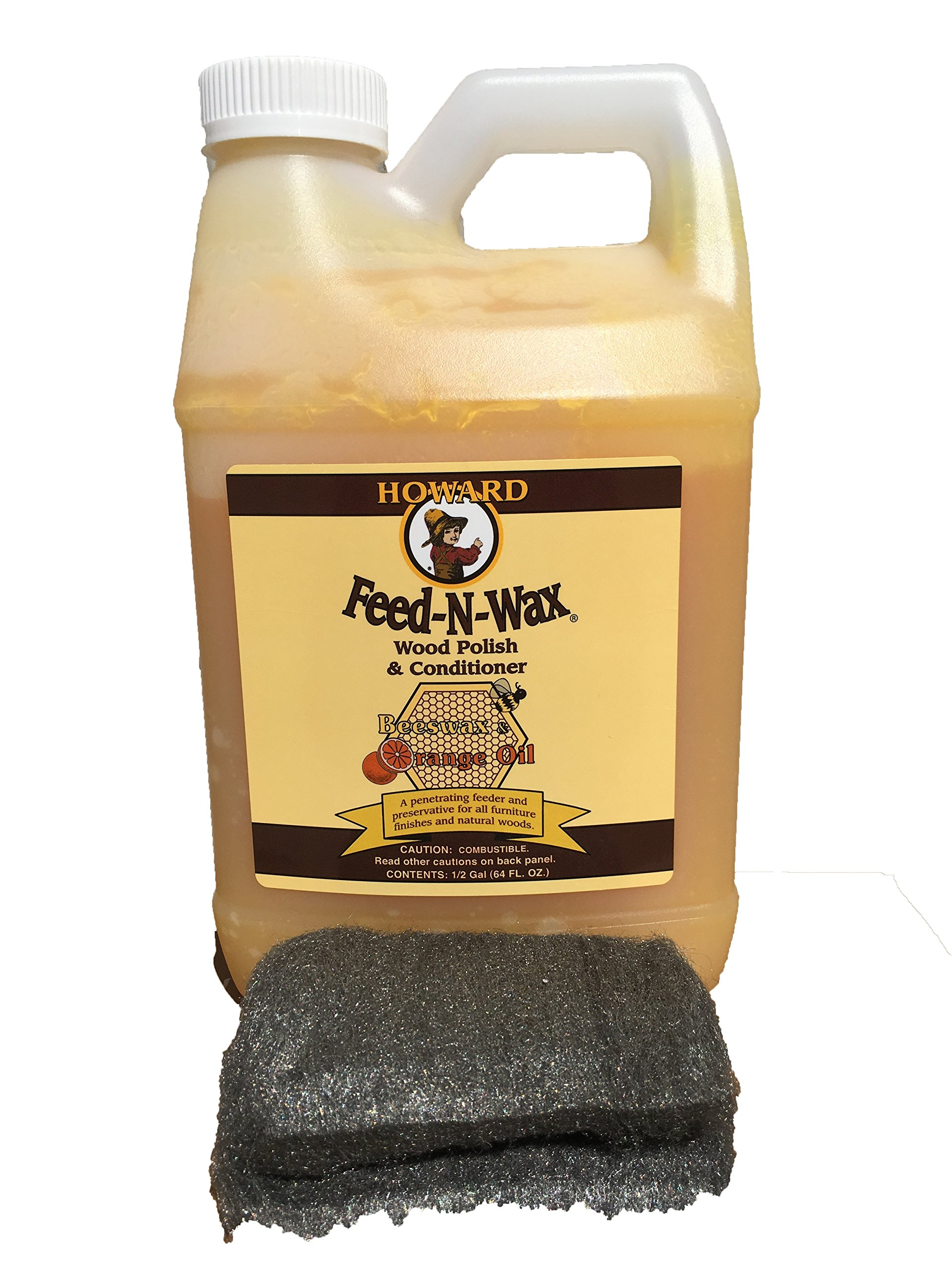 Howard Feed-N-Wax Restorative Wood Furniture Polish and Conditioner 64 Ounce 1/2 Gallon, Beeswax Feeds Wood, Antique Furniture Restoration by Howard Products