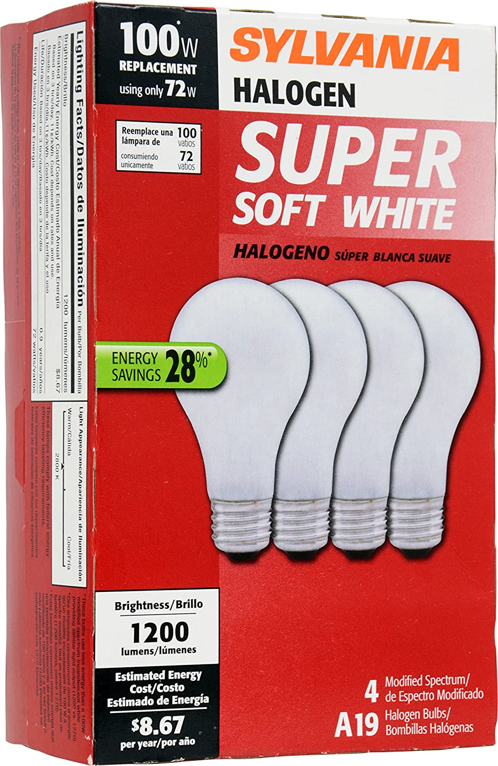 SYLVANIA Home Lighting 50006 Tungsten Halogen Bulb, A19-72W-2800K, Soft White Finish, Medium Base, Pack of 4 - - Amazon.com