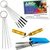 TCP Global Carburetor, Airbrush, Spray Gun 25 Piece Needle and Brush Cleaning Tool Set Kit - 18 Wire Needles, 5 Brushes…