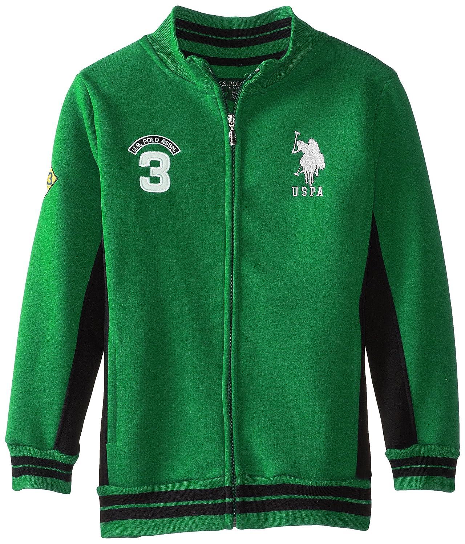 U.S. Polo Association Boy's Fleece Mock Neck Jacket with Striped Ribbing US Polo Assn. Boys 4-7 SC32