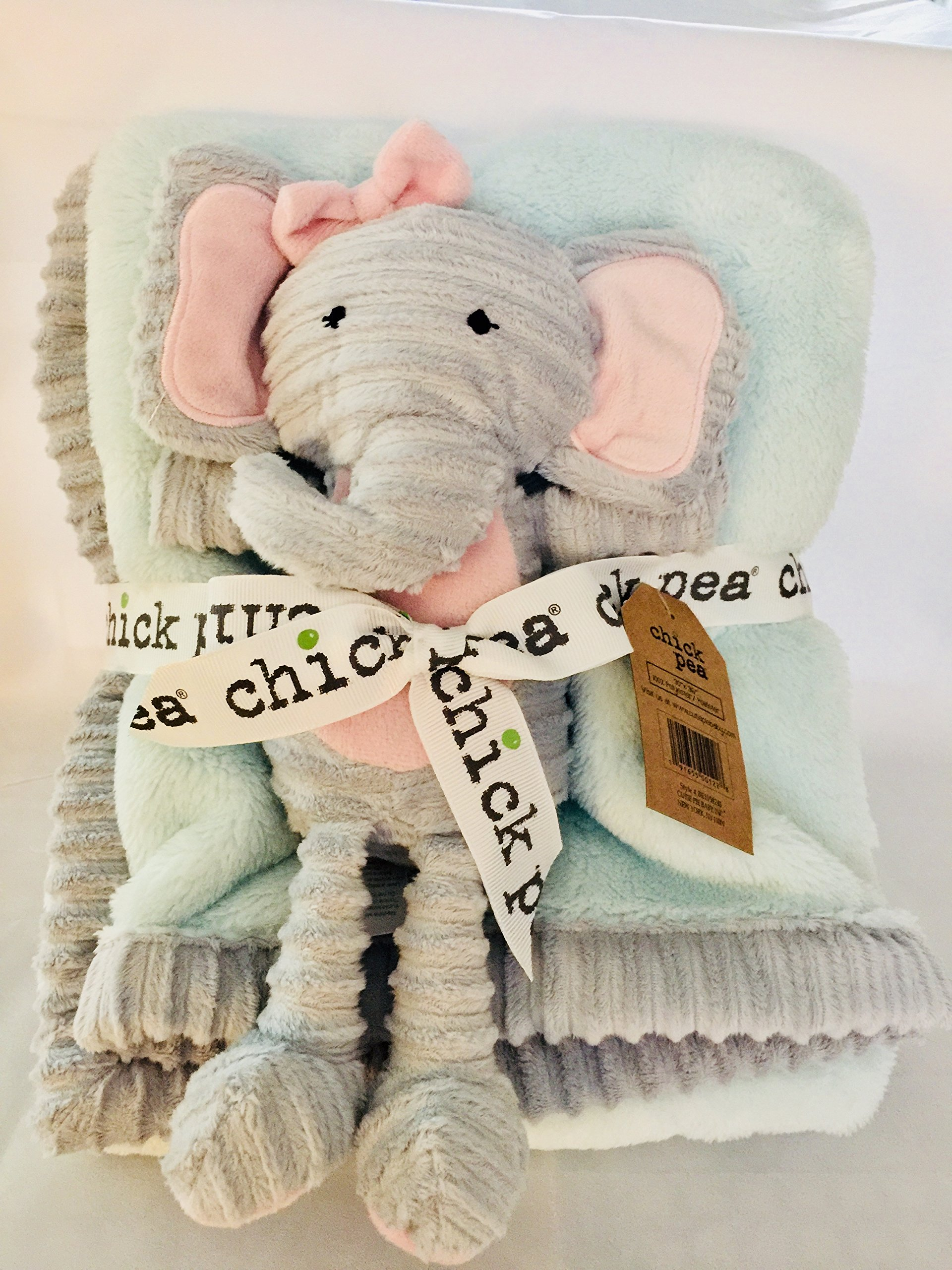Chick Pea Baby Velboa Plush 2 Piece Blanket and Animal Toy Set, turquoise Blanket