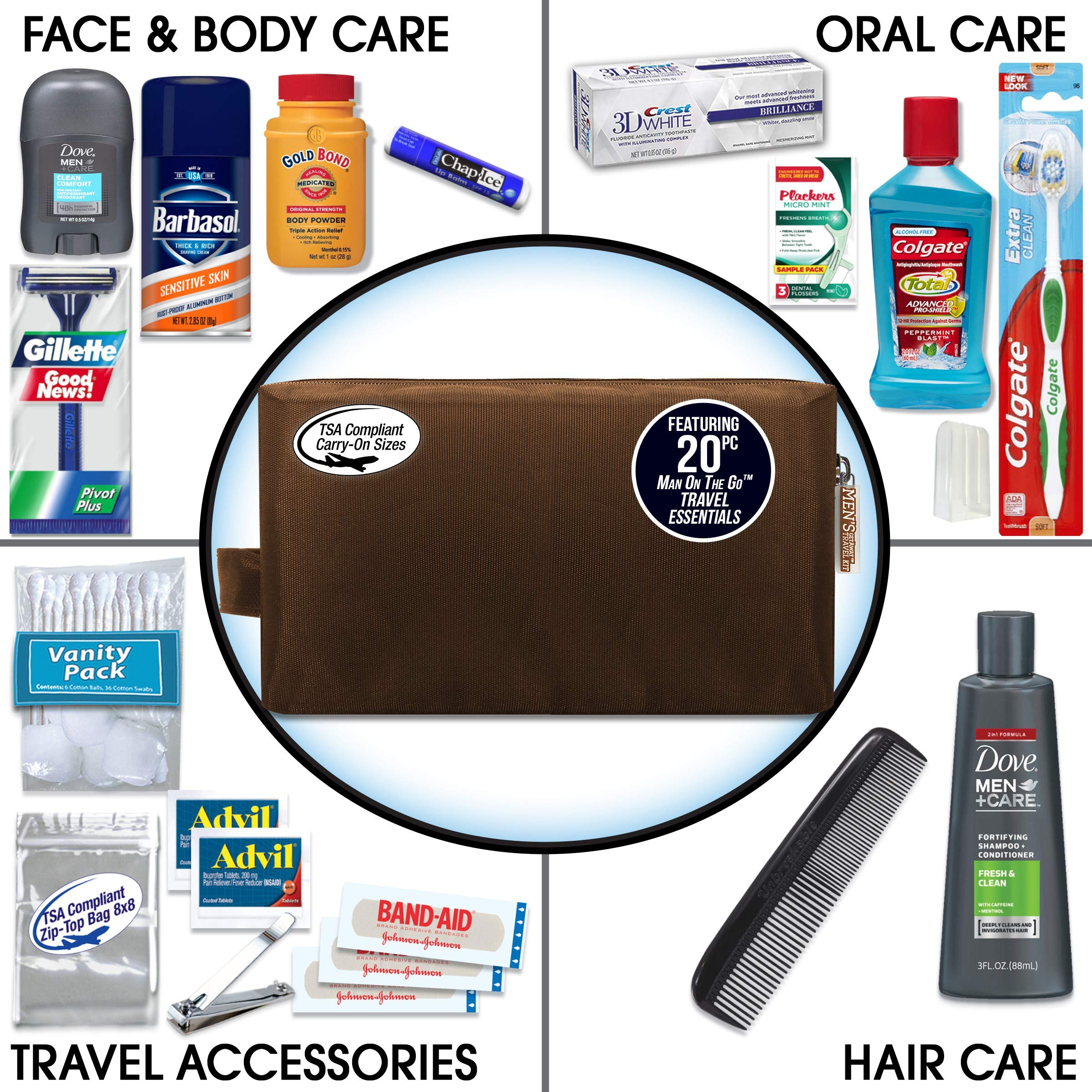 Convenience Kits Men's Premium 20 Count Necessities Travel Kit, Featuring: Dove Men & Care Products by Convenience Kits