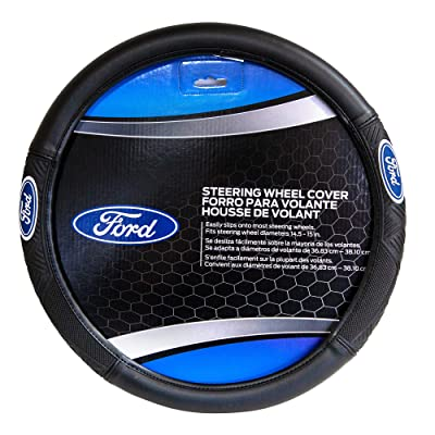 "Plasticolor 006445 Ford Triton Black 14.5"" - 15.5"" PVC Steering Wheel Cover - 1 pack: Automotive"