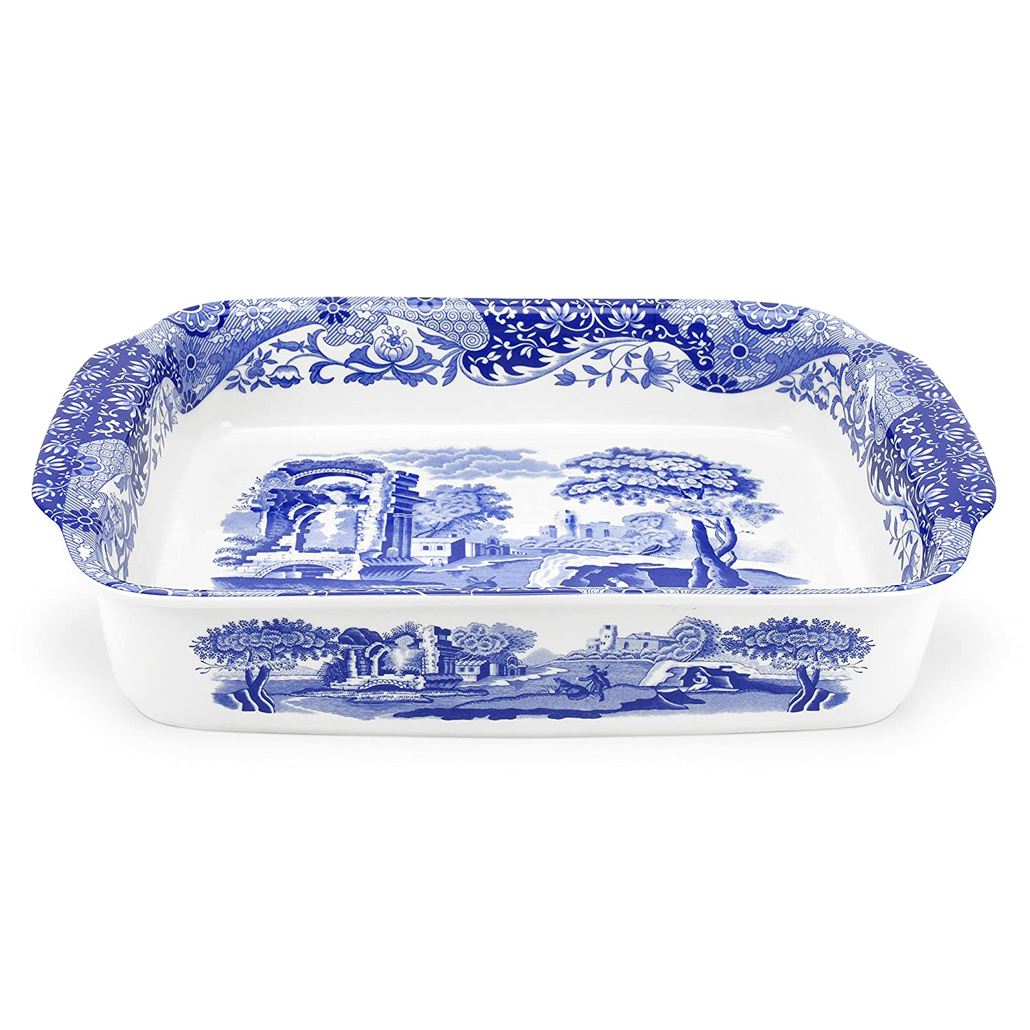 Spode Blue Italian Rectangle Handled Dish Large Royal Worcester 1635915