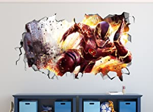 """The Flash Smashed 3D Wall Decal Mural Art Kids Boy Smash Home Decor Removable Sticker Vinyl (LARGE (30""""W x 16""""H))"""