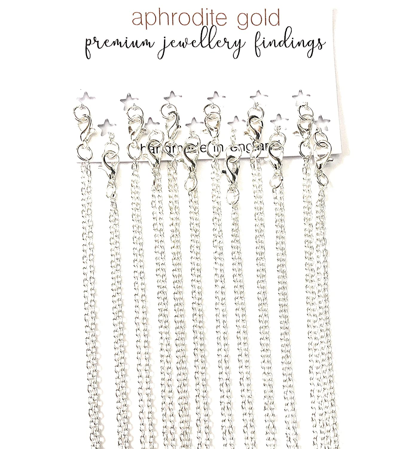 11 11 PCS 20 Silver Plated Link Chain Necklaces Jewellery Making Craft Wholesale Handmade in England