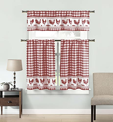DUCK RIVER TEXTILES – Checkered Kitchen Window Curtain Set Hellen, 2 Tiers 29 X 36 Inch 1 Valance 58 X 15 Inch, Burgundy Red and White