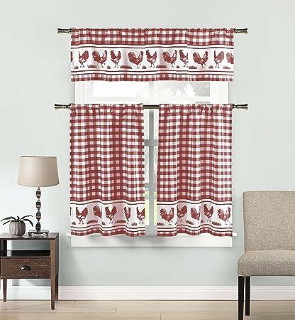 DUCK RIVER TEXTILES - Checkered Kitchen Window Curtain Set Hellen, 2 Tiers 29 X 36 Inch | 1 Valance 58 X 15 Inch, Burgundy Red and White