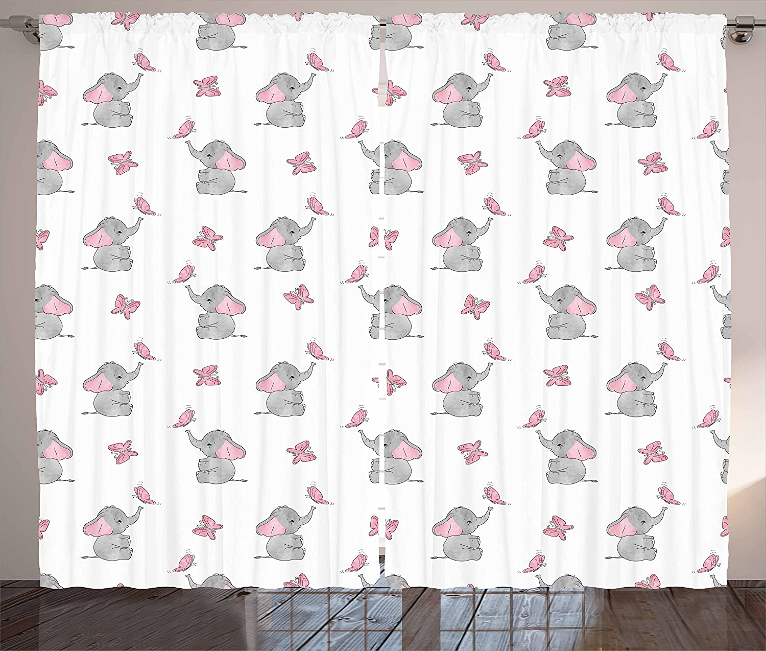 Ambesonne Elephant Cartoon Curtains, Baby Elephants Playing Butterflies Design Pattern, Living Room Bedroom Window Drapes 2 Panel Set, 108