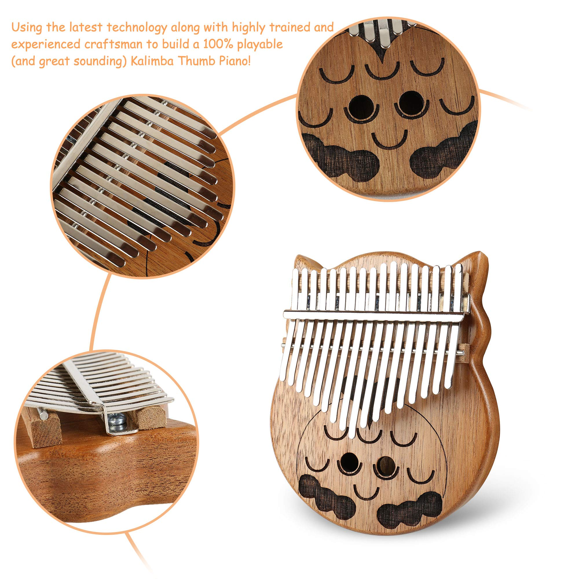 Owl Kalimba Thumb Piano 17 Keys Thumb Instrument with Number Sticker, Tuning Hammer, Protective Box and Cleanning Cloth by Caiyuangg (Image #3)