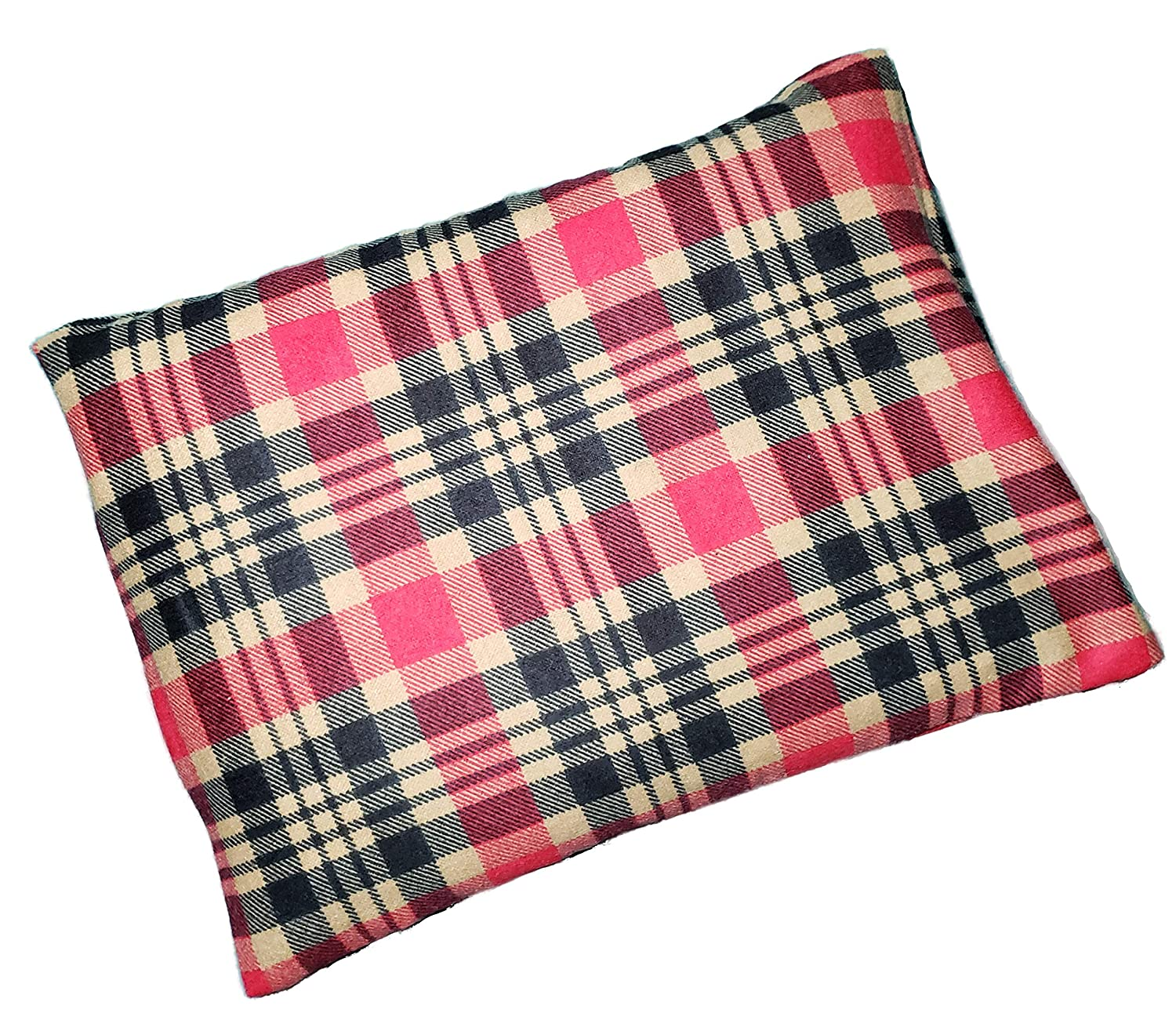"""Microwavable Corn Filled Heating Pad and Cold Pack/Washable 100% Cotton Cover (7.5""""Wx11""""L, Flannel - Tan/Red)"""