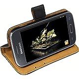 mumbi Etui Cuir Samsung Galaxy Ace 3 en Book Style - Etui à Clapet Portefeuille Étui Housse Protecteur Pochette Bookstyle support / Pied Pivotant Noir