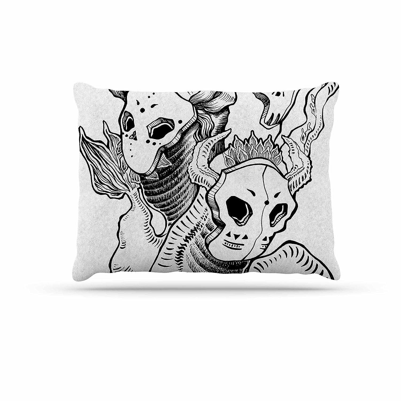 KESS InHouse Anya Volk Masks Black White Dog Bed, 50  x 40