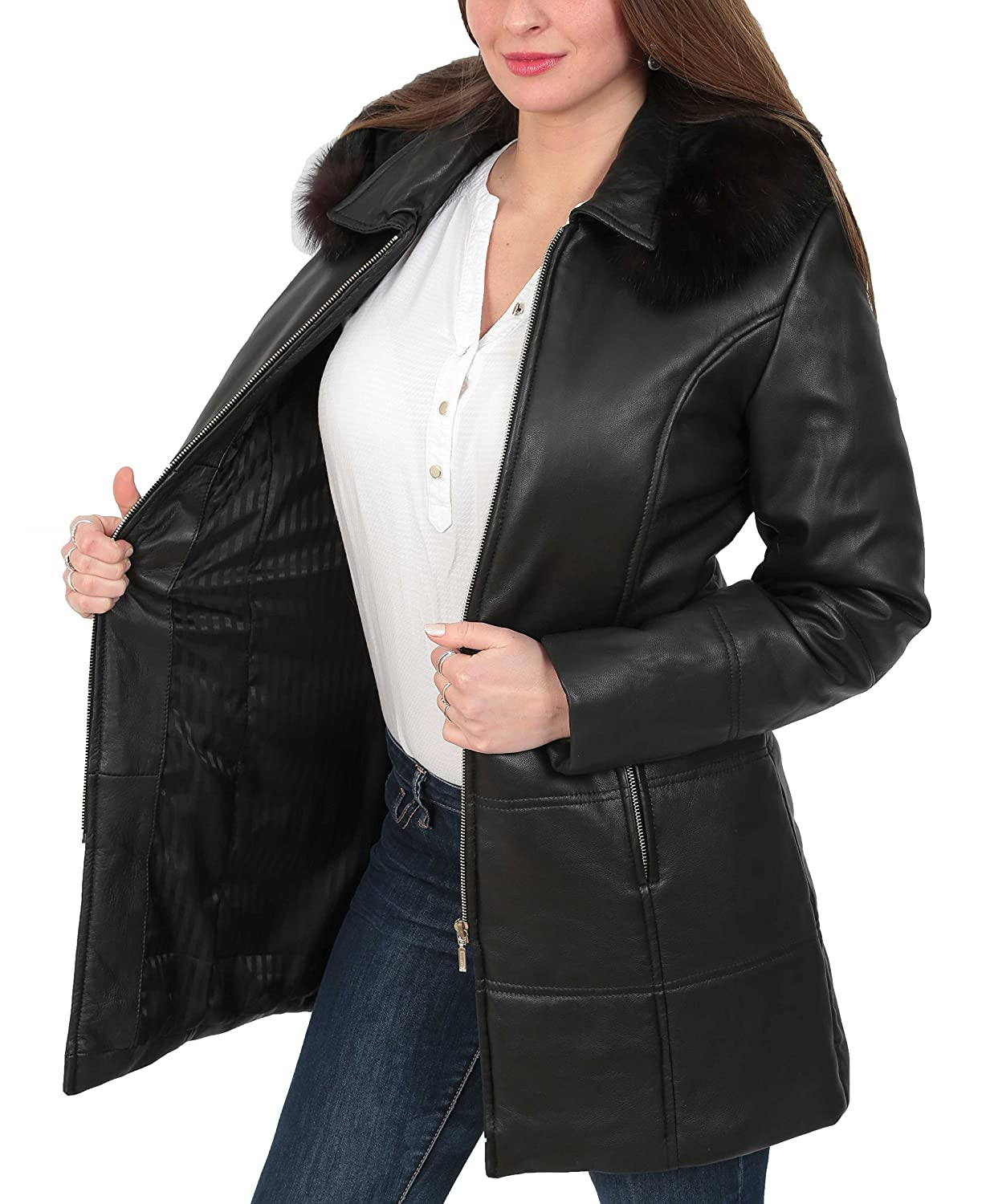 Ladies Soft Leather Puffer Coat 3/4 Length Padded Fitted Hooded Parka Lisa Black at Amazon Womens Coats Shop