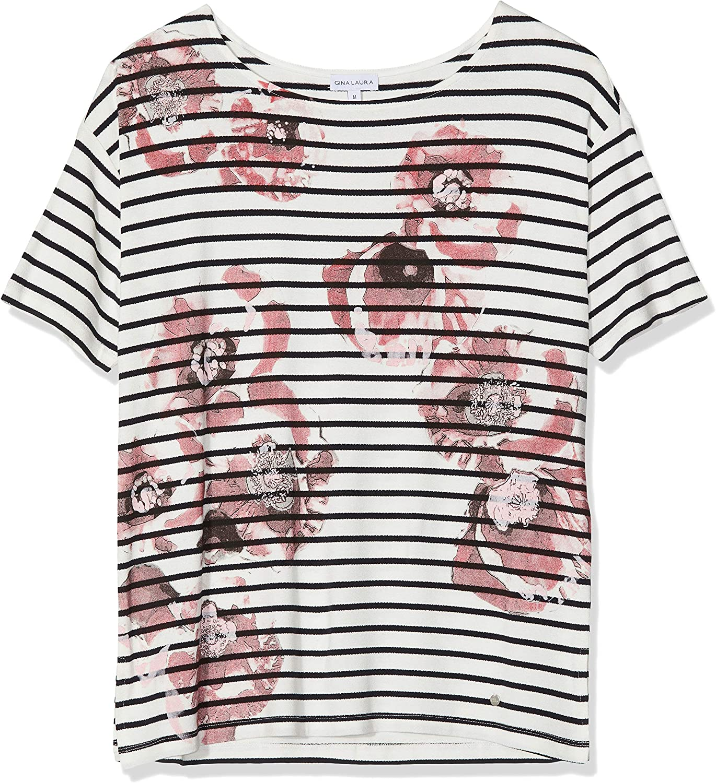 GINA LAURA Shirt Oversized Print Streifen Blumen Sudadera para Mujer