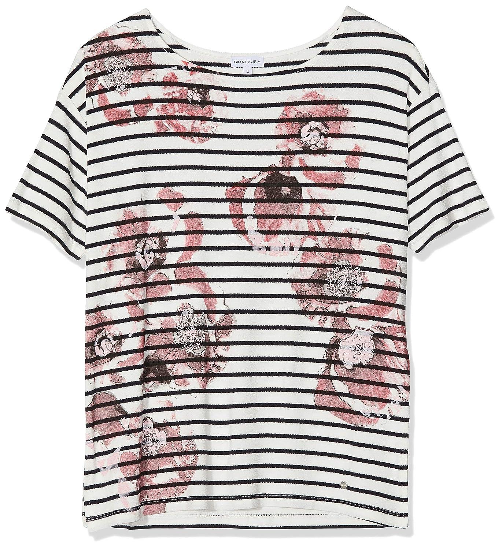 TALLA XXL. GINA LAURA Shirt Oversized Print Streifen Blumen Sudadera para Mujer